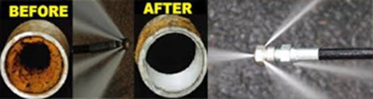 Before and after hydrojet cleaning a pipe.