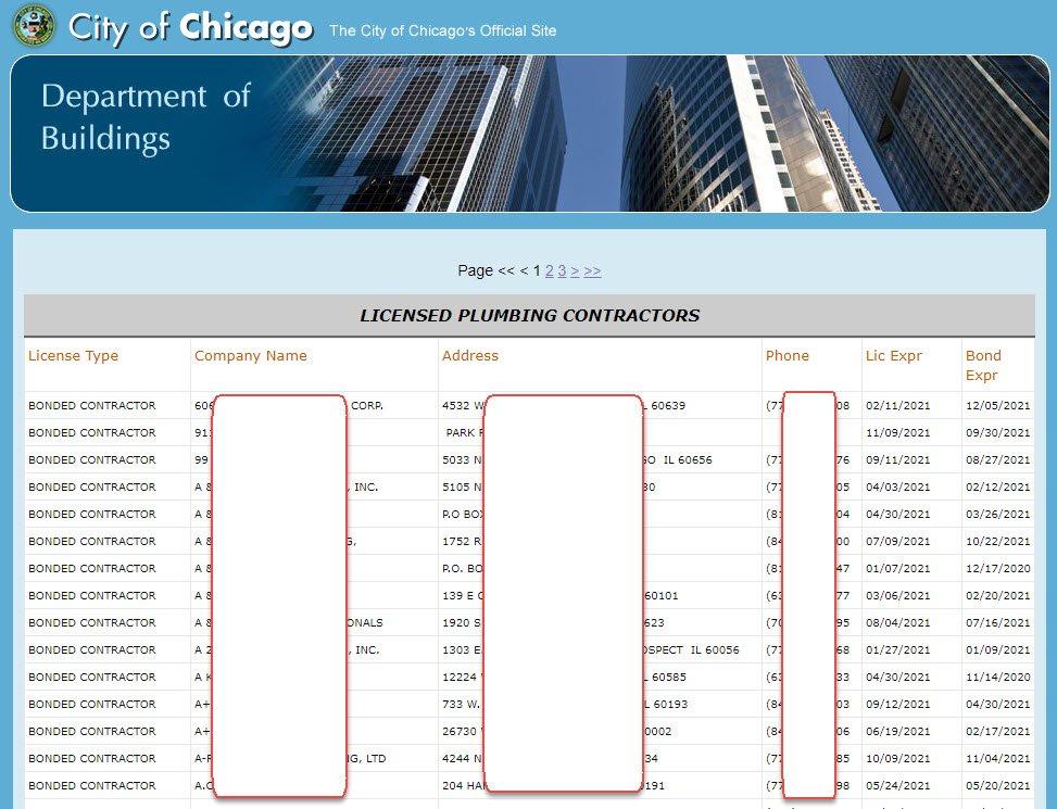 Chicago licensed plumbers list