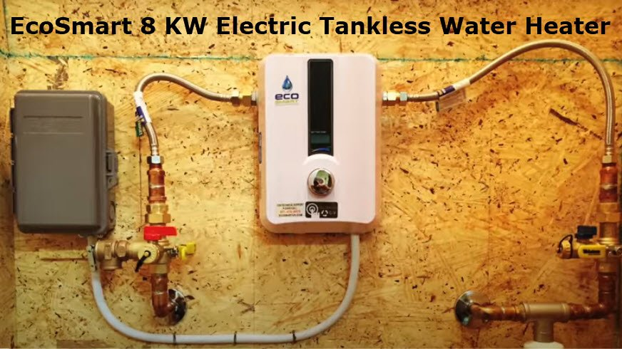 EcoSmart 8 KW electric tankless water heater installed on a wood wall. Plumber Near Me Free Estimate.