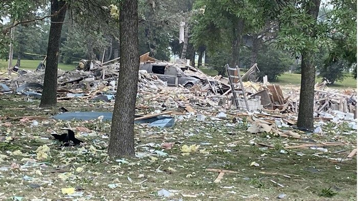 Natural gas house explosion in Marshall MN
