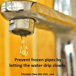 Prevent frozen pipes by letting the water drip slowly. Plumber Near Me USA .com How to Thaw Frozen Pipes and How to Prevent Frozen Pipes