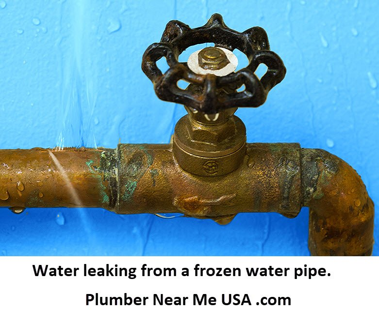 Water leaking from a frozen water pipe. How to Thaw Frozen Pipes and How to Prevent Frozen Pipes